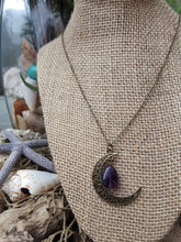 Bronze Crescent Moon & Amethyst Necklace