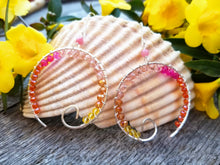 Open Circle Spiral Earrings - Beach Sunset