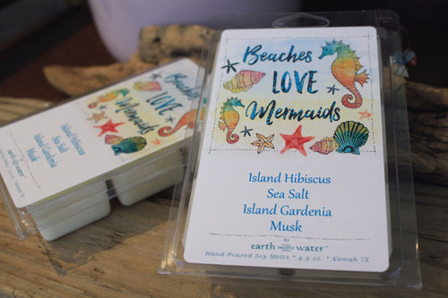 Beaches Love Mermaids 6-pack Jumbo Soy Wax Melts - Island Hibiscus