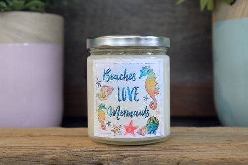 Beaches Love Mermaids 9 oz Soy Candle - Island Hibiscus