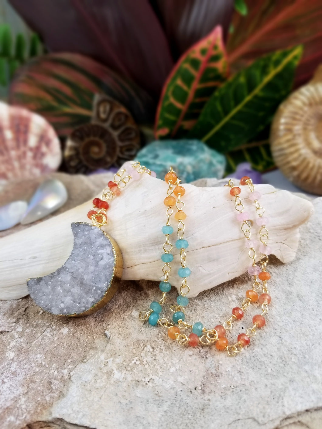Druzy Agate Crescent Moon Necklace