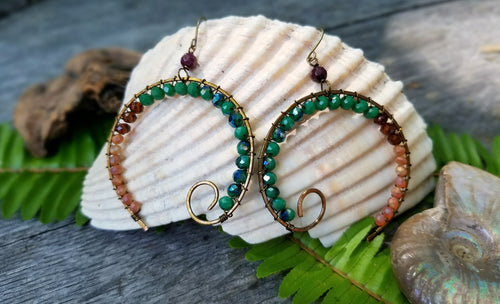 Open Circle Spiral Earrings - Earth Tones