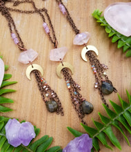 Pink Crystal Quartz & Moon Charm Necklace