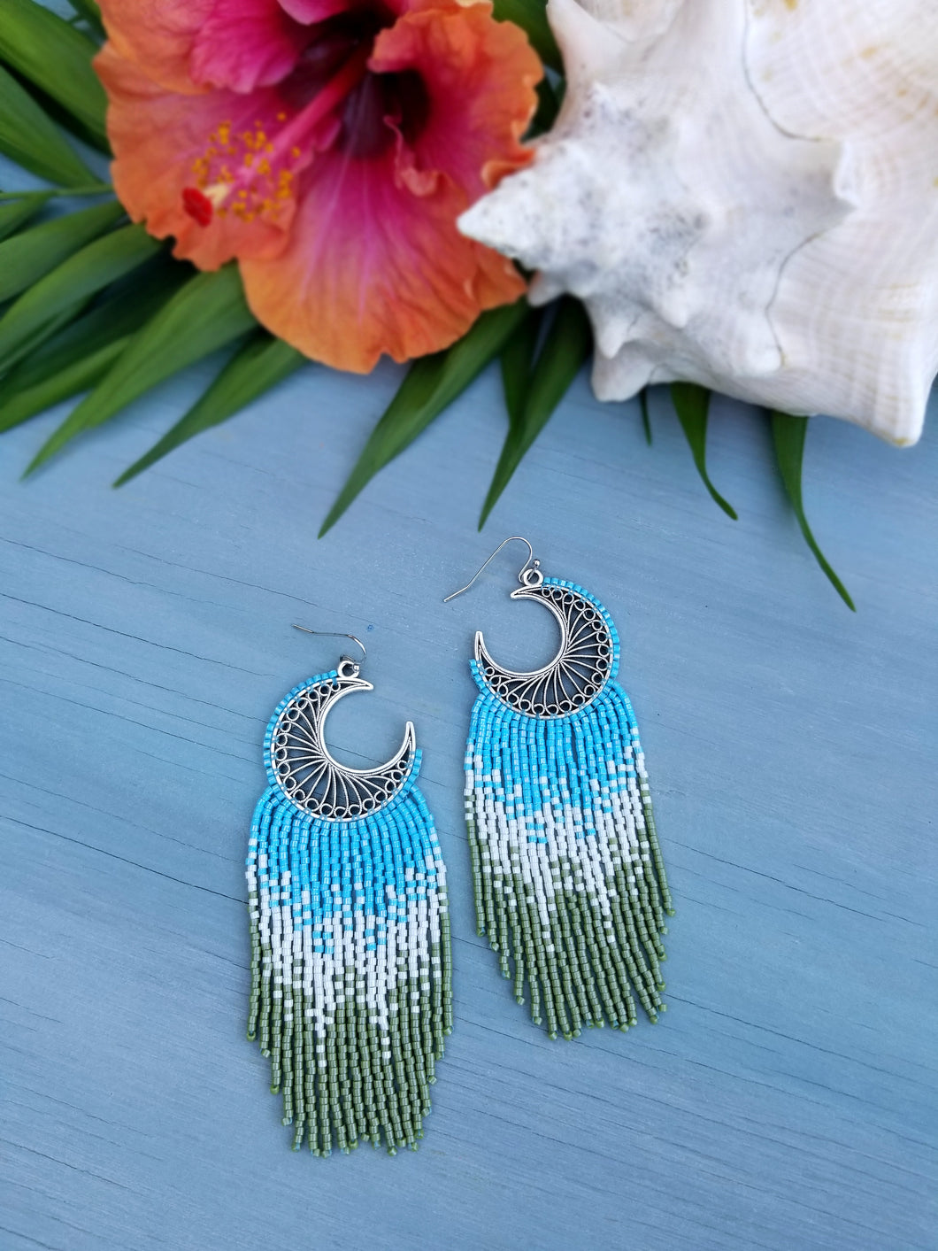 Paradise Island Crescent Moon Beaded Fringe Earrings