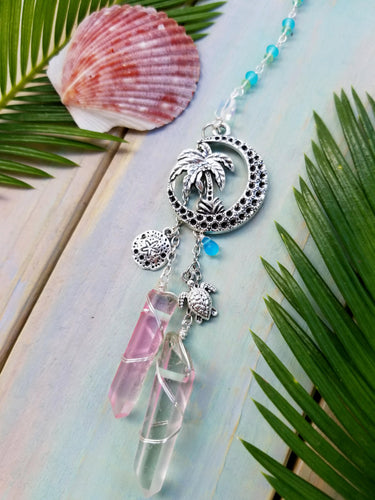 Beach Sunset -Crescent Moon & Palm Tree Car Charm