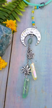 Silver Sun Moon and Stars Car Charm - Green & Yellow
