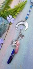 Silver Sun Moon and Stars Car Charm - Blue Lace Agate