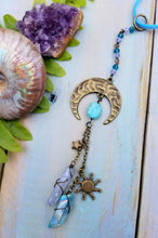 Sun Moon & Stars Amazonite Car Charm