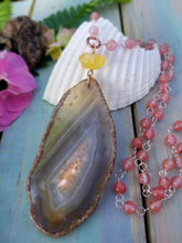 Sunset Agate Beaded Necklace - OOAK