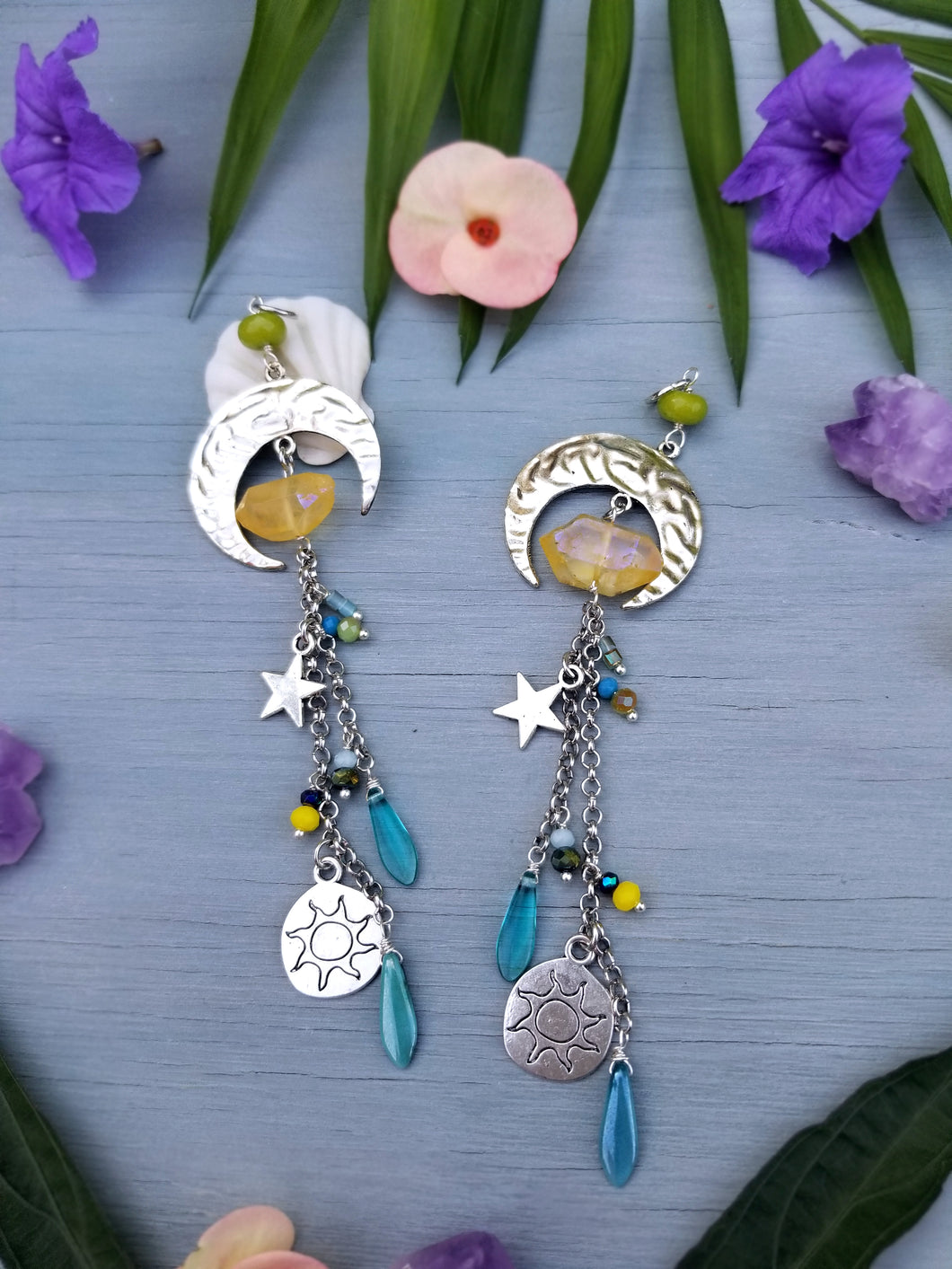 Silver Moon/Yellow Crystal Car Charm