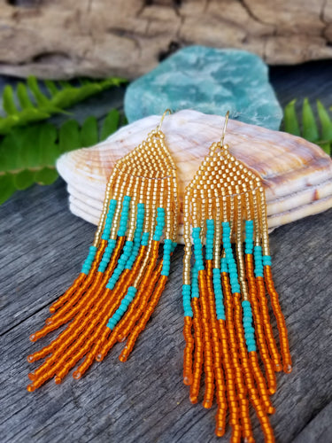 Sunset Beach Beaded Fringe Earrings