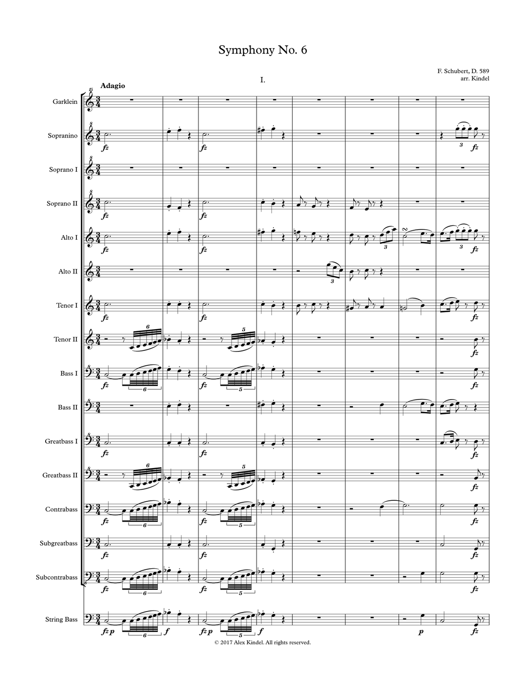 Schubert, F.: Symphony No. 6, D. 589, for recorders