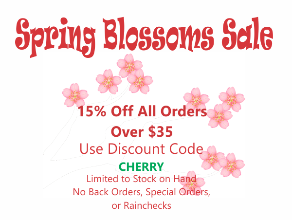 Spring Sale 15% off all orders over $35