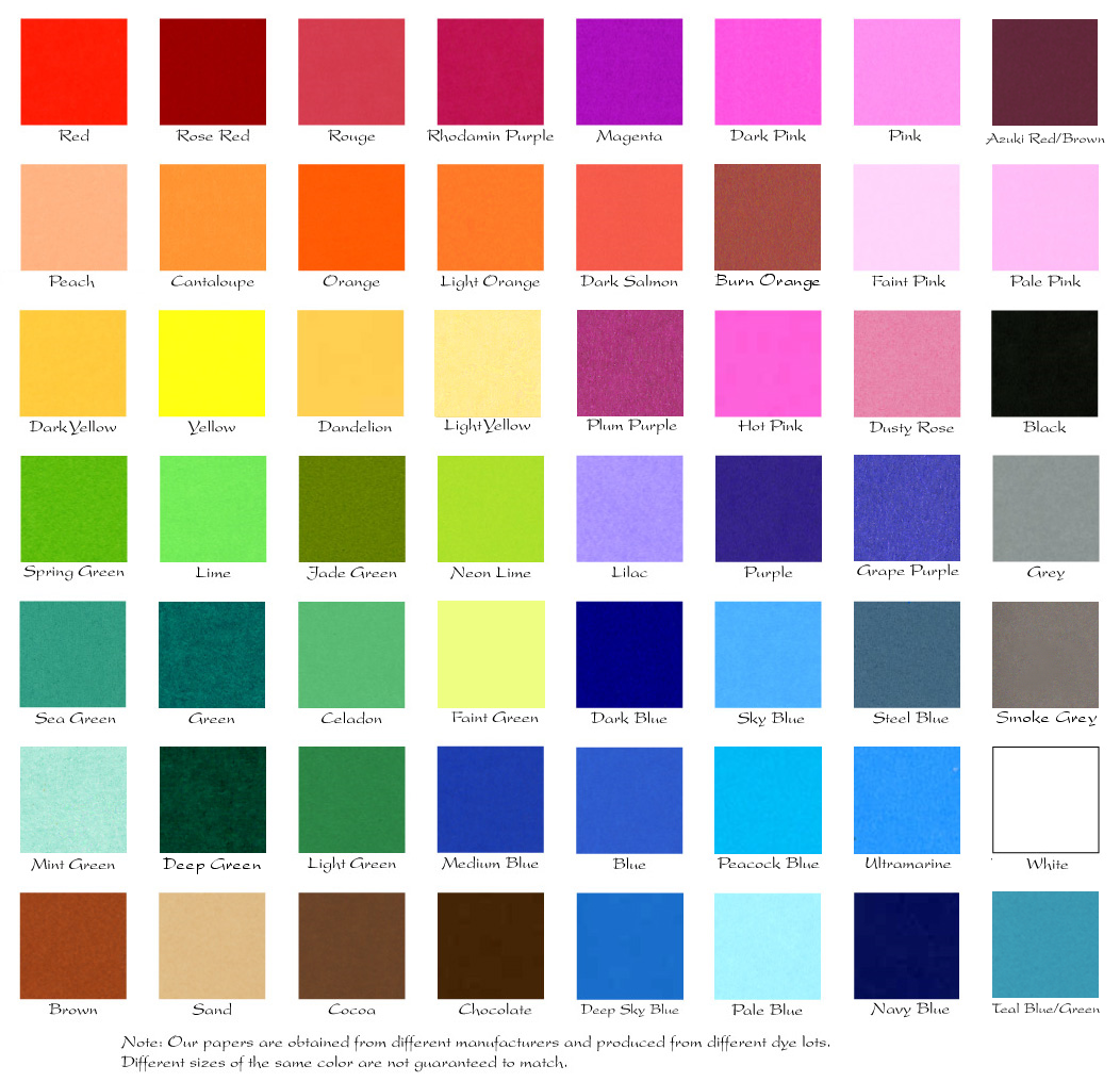 4.6 / 6 inch color chart