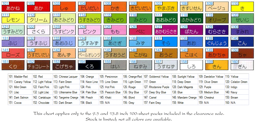 9.5 / 13.8 inch color chart