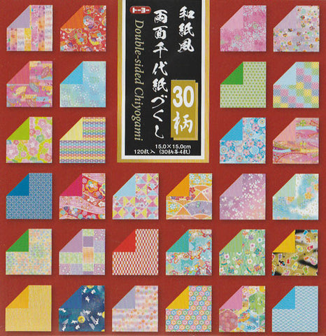 "Chiyogami Collection Double-sided 6"" 30 Pattern 120 Sheets"