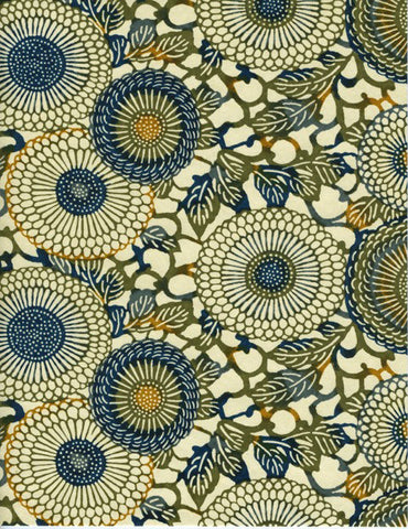 771-987C  Yuzen Chiyogami--Green and dark blue circular motifs on a cream background