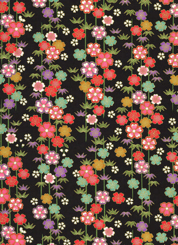 992C  Yuzen Chiyogam--Colorful strings of flowers in green, purple, pink, and red on a black background