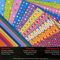 Double-sided Hearts 10 patterns; color back; 20 Sheets