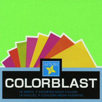 "Assorted Solid Neon Colors 6"" 18 Sheets"
