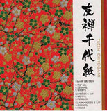 "Yuzen Chiyogami Red 6"" 5 Sheets"