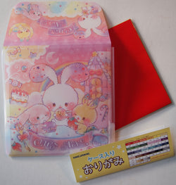 Origami Paper Carrying Case--plastic with rabbits and candy