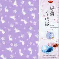 "Pearl Rabbit (bunny) Chiyogami 6"" 12 Sheets"