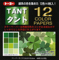 "TANT Double-Sided Assorted 13.8"" Greens 12 Sheets"