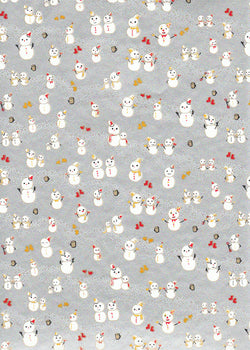 990C  Yuzen Chiyogami --White snowmen on silver background (Christmas)