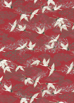 CHY1004  Yuzen Chiyogami--White and black cranes on a magenta background