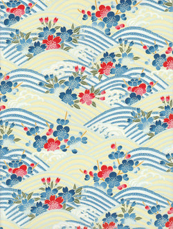 CHY1009  Yuzen Chiyogami --Red and blue cherry and plum blossoms on a blue, yellow, and silver wave pattern