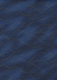 1017C Yuzen Chiyogami--Gold wave pattern on blue background