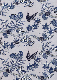 102W Katazome-shi--birds, leaves, and flowers in dark blues on light blue background