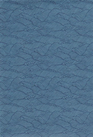 CHY998-1035  Yuzen Chiyogami--Blue paper with a decorative wave pattern in dark blue