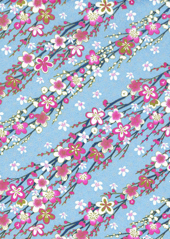 CHY1043  Yuzen Chiyogami--Pink and white plum blossoms on turquoise background