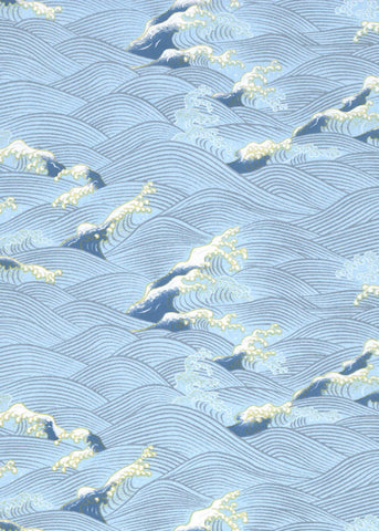 1045C Yuzen Chiyogami--Blue wave pattern on light and dark blue background