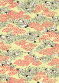 1048C Yuzen Chiyogami--White and black cranes on red and cream background