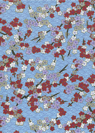1049C Yuzen Chiyogami--Maroon and white plum blossoms on a traditional blue background