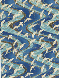 1052C Yuzen Chiyogami--White and black cranes on light and dark blue background