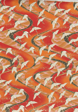 1052-1053C Yuzen Chiyogami--White and black cranes on light and dark orange background