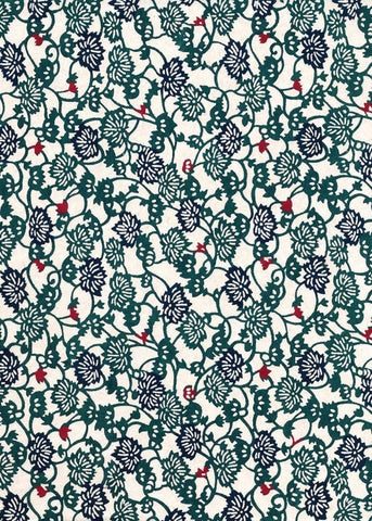 125W Katazome-shi--traditional floral pattern in blue with red hints on white background