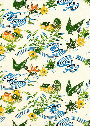 128W Katazome-shi--birds, leaves, and flowers in greens and blues on white background