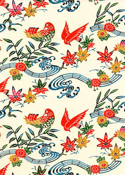 130W Katazome-shi--birds, leaves, and flowers in reds and blues on white background