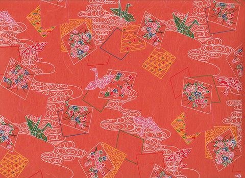 149 Yusenshi Chiyogami--cranes on orange
