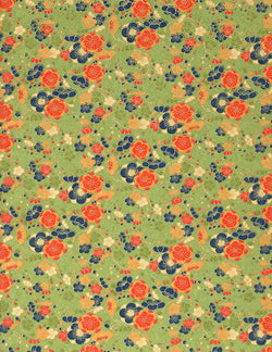 188C Yuzen Chiyogami--peach, gold, and blue flowers on green background