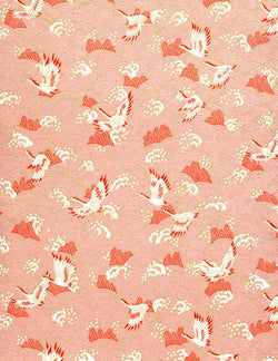 193C Yuzen Chiyogami--White cranes with pink accents on a white and pink background