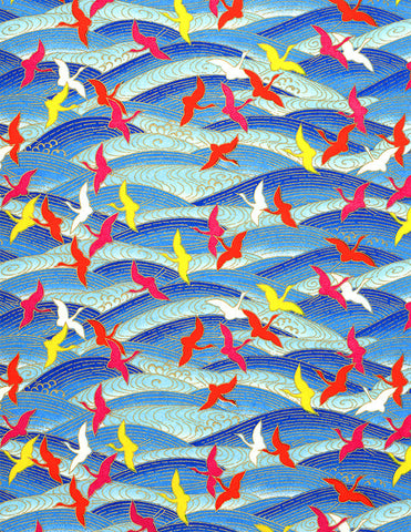 231C Yuzen Chiyogami--White, yellow, and orange/red cranes on a blue background
