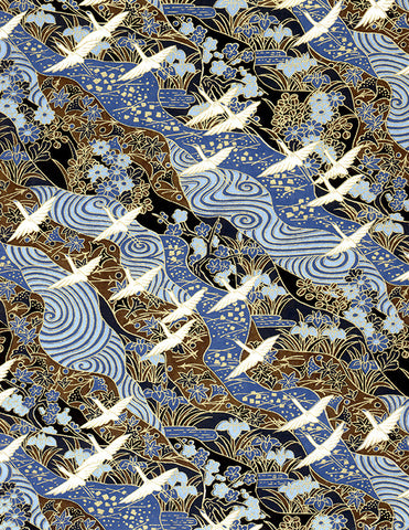 24C Yuzen Chiyogami--White cranes with gold accents on a blue background