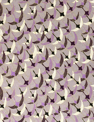 83-302C Yuzen Chiyogami--White, black, and purple cranes on a purple background