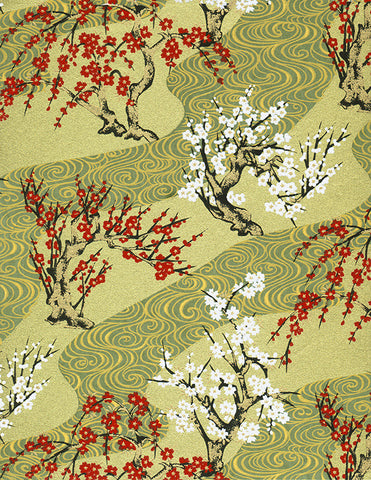 432-339C Yuzen Chiyogami--branches of white and red cherry blossoms on gold and celadon green background